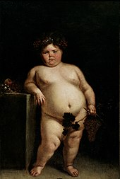 A nude painting of a dark haired pink cheeked obese girl leaning against a table. She is holding grapes and grape leaves in her left hand which cover her genitalia.