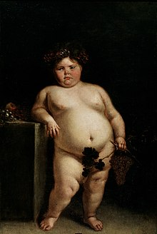 A nude painting of a dark-haired pink-cheeked obese girl leaning against a table. She is holding grapes and grape leaves in her left hand which cover her genitalia.
