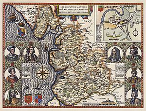 John Speed - Image: Lancashire 1610 Speed Hondius Restoration