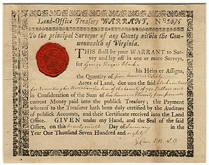 George Rogers Clark - Virginia Land Office warrant to Clark for 560 acres for having raised battalion to fight in the Revolutionary War. January 1780