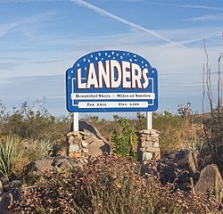 The Landers sign outside the U.S. Post Office on Reche Road at Landers Lane.