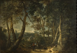 Landscape with High Trees near a Ravine
