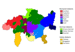 Vallader dialect (Romansh) - Image: Languages and dialects of Grisons