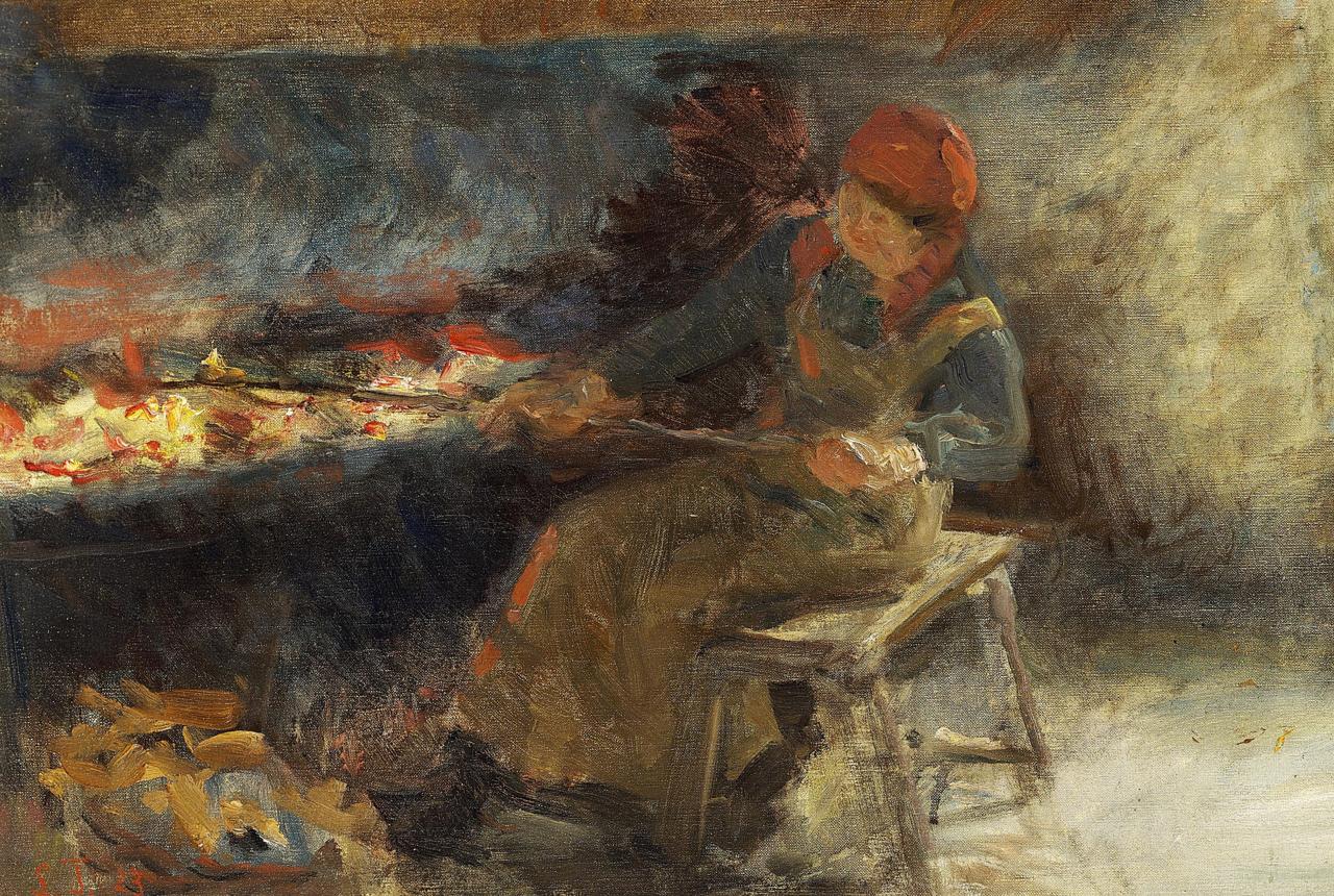 Laurits Tuxen - Kone ved ildstedet - 1923.png