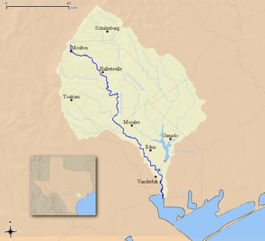 Lavaca River - Map of the Lavaca River and associated watershed