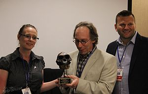Richard Dawkins Award - Dr. Lawrence Krauss is Given the Richard Dawkins Award by Mark W. Gura and Melissa Pugh of Atheist Alliance of America at the Reason Rally 2016