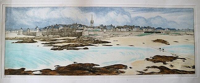 Grand Panorama de Saint Malo, eau-forte en couleur, Malo-Renault (1870-1938)