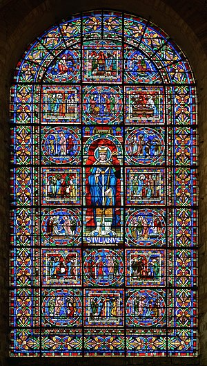 Julian of Le Mans - Stained glass depicting Julian of Le Mans and 16 episodes of his life (12th century, restored in 1897) - West facade of Le Mans Cathedral - Le Mans (Sarthe, France)