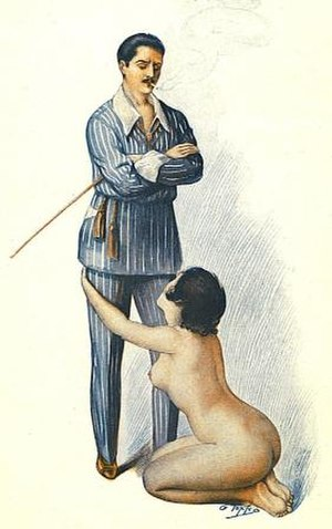 "Dominance and submission - 1921 illustration of female submission by Georges Topfer from Le Rêve d'un flagellant (""The dream of a flagellant"")."