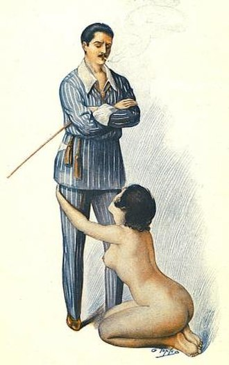 "Dominance and submission - This 1921 illustration of a clothed male, naked female shows an example of female submission. The art is by Georges Topfer from his work Le Rêve d'un flagellant (""The dream of a flagellant"")."