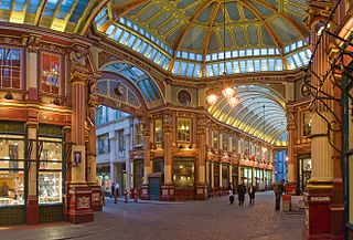 covered market in London, located on Gracechurch Street
