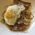 Leftover cabbage-anchovy spaghetti meets fried egg and bacon -breakfast.jpg