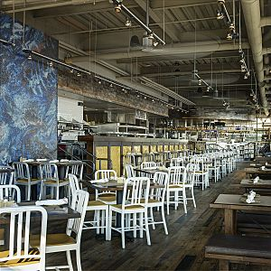 The Legal Sea Foods dining room at their restaurant in the South Boston Waterfront