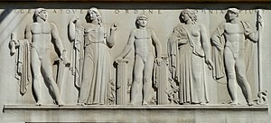 Roger Morigi - Lege Atque Ordine Omnia Fiunt architrave (1935), C. Paul Jennewein, sculptor, Robert F. Kennedy Department of Justice Building.