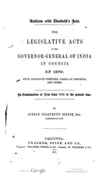 Legislative Acts of the Governor General of India in Council, 1870.djvu