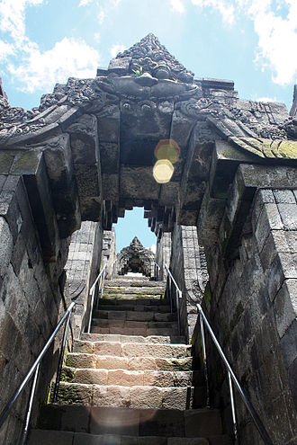 Lens flare - Lens flare on Borobudur stairs to enhance the sense of ascending