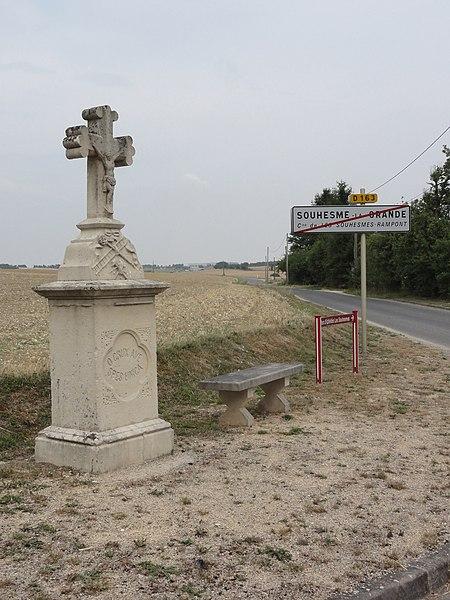 Les Souhesmes (Les Souhesmes-Rampont, Meuse) city limit sign Souhesme-la-Grande and wayside cross