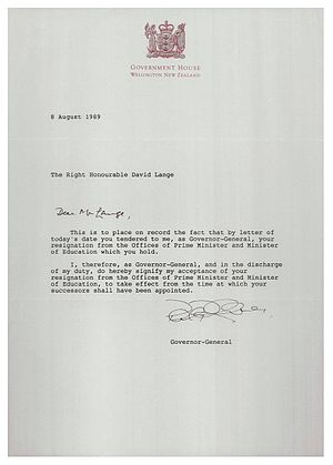 David Lange - The Governor-General's letter accepting Lange's resignation.