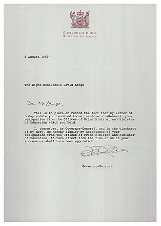 David Lange - The Governor-General's letter accepting Lange's resignation
