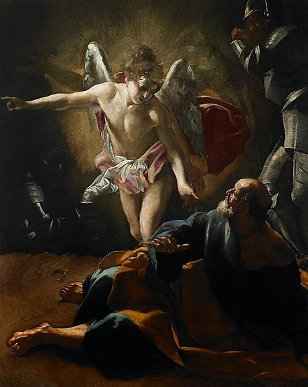The Liberation of St. Peter from prison by an angel, by Giovanni Lanfranco, 1620-21 Liberation of Saint Peter by Giovanni Lanfranco-BMA.jpg