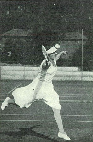 "Lilí Álvarez - Lilí Álvarez at the 1931 French Championships wearing her controversial ""robe-pants"""