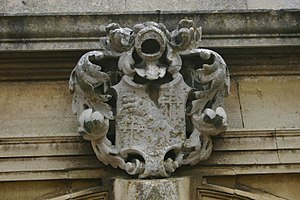 Lilford Hall - Sir Thomas Powys' coat of arms over front porch