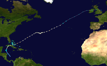 Storm path of hurricane, stretching from the southern Caribbean to the northern Atlantic.
