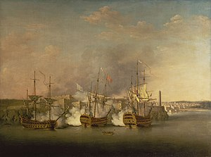 HMS Cambridge (1755) - The bombardment of Morro Castle on Havana – Lindsay is being rowed out from the Trent to take command of the Cambridge, right