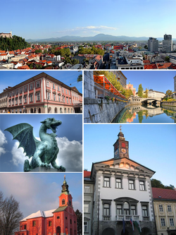 Clockwise from top: Ljubljana Castle in the background and Franciscan Church of the Annunciation in the foreground; Visitation of Mary Church on Ro?nik Hill; Kazina Palace at Congress Square; one of the Dragons on the Dragon Bridge; Ljubljana City Hall; Ljubljanica with the Triple Bridge in distance