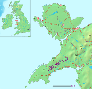 Llŷn Peninsula - Location of the Llŷn Peninsula in north Wales