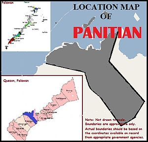 Panitian, Palawan - Location map of Panitian. On its northeasternmost point is the Tabon Cave complex also dubbed as the Cradle of Philippine Civilization. There is no reason not to believe that the Tabon Man and the early humans whose remains were found in the cave also roamed Panitian 20,000 to 60,000 years ago.