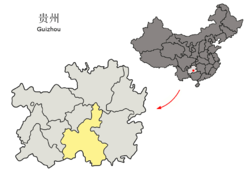 Location of Qiannan Prefecture in Guizhou