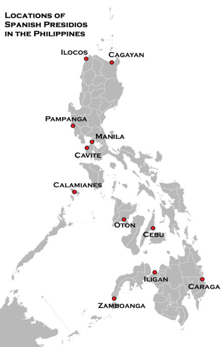 "This is a map outlining the general locations of the Spanish ""Presidios"" officered by Spaniards, manned by Latin Americans from Mexico and Peru which defended the native Filipino settlements from Muslim, Wokou, Dutch and English attacks, which were built in the Philippines during the 1600s, according to the book Fortress of Empire by Rene Javellana, S. J. (1997) Locations of Spanish Presidios in the Philippines.png"
