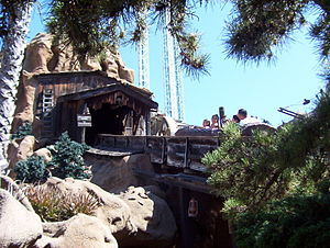 Timber Mountain Log Ride - The ride exiting its station as it heads up the mountain.