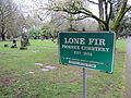 Lone Fir Cemetery sign, Portland, Oregon.JPG