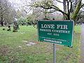 Lone Fir Cemetery sign, Portland, Oregon.JPG