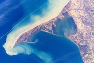 Long Point, Ontario - Long Point Peninsula with bright sediment plumes. (The top of the image points southwest, rather than north.) Source: NASA