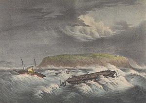 HMS Zebra (1815) - HMS Zebra along with HMS Pique Vesuvius during the storm