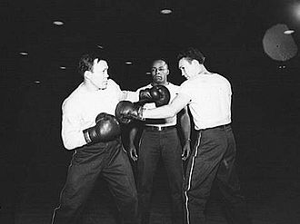 Lou Ambers - Ambers (on the right) sparring with Marty Servo in 1943