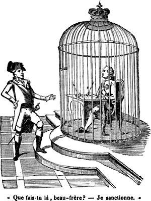 """""""Die freie Unterschrift"""". Französische Karikatur aus dem Jahr 1792. Kaiser Leopold II.: """"Was machst du da, Schwager?"""" Ludwig XVI. (im Käfig): """"Ich unterschreibe."""""""