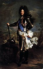 Louis XIV of France standing in plate armor and blue sash facing left holding baton