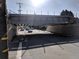 "San Mateo station - Replacement (2016) bridge over Tilton, 8'6"" clearance"