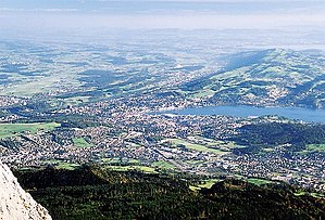 Swiss Plateau - View from the Pilatus on the Swiss Plateau near Luzern