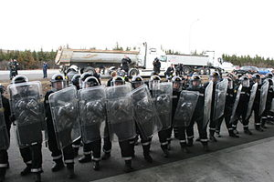Riot control - Rank of Icelandic National Police officers in full riot gear during the 2008 Icelandic lorry driver protests.