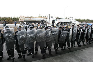 Riot control measures used by police, military, or other security forces during a riot