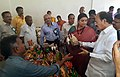 M. Venkaiah Naidu and the Union Minister for Textiles, Smt. Smriti Irani at a stall, during the Hathkargha Samvardhan Sahayatha Scheme distribution to weavers, at the Swarna Bharat Trust, in Atkur, Vijayawada.jpg