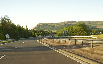 M90 motorway - M90, North of Kelty at the boundary between Fife and Perth and Kinross