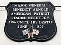 Major General Benedict Arnold, American patriot resided here from 1796 until his death June 14, 1801.jpg