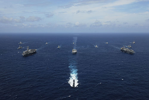Image of United States ships participating in the Malabar 2007 naval exercise. Aegis cruisers from the navies of Japan and Australia, and logistical support ships from Singapore and India in the Bay of Bengal took part. Malabar 07-2 exercise.jpg