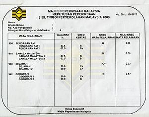 Sijil Tinggi Persekolahan Malaysia - Examination performance letter of the STPM examination
